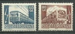 POLAND MNH ** 739-740 ELECTRIFICATION DES CHEMINS DE FER. TRAIN - 1944-.... République