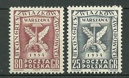 POLAND MNH ** 749-750 CONGRES DES SYNDICATS OUVRIERS à VARSOVIE - 1944-.... Republik