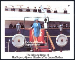 Falkland Islands Dep Sc# 1L96 MNH Souvenir Sheet 1985 Queen Mother 85th Birthday - Falkland