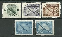 POLAND MNH ** 751-755 Championnats Internationaux De Vol à Voile Planeur Avion Aviation Drapeaux - 1944-.... République