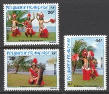 French Polynesia Sc# 346-348 MNH 1981 26fr-44fr Folk Dancers - Unused Stamps