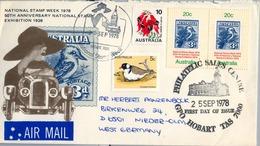 1978 , AUSTRALIA , CORREO AÉREO , HOBART - PHILATELIC SALES CENTRE , AVES - BIRDS - 1966-79 Elizabeth II