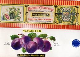 Lot 5 étiquettes Gaston SALABERT Usine De Lamagistére Tarn & Garonne Prunes D'ente ,pastéques ,cerises ,coings, - Fruit En Groenten