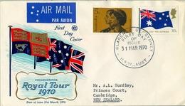 1970 , AUSTRALIA , CORREO AÉREO , SYDNEY , SOBRE DE PRIMER DIA - ROYAL TOUR - 1966-79 Elizabeth II