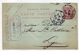 Entier Postal Semeuse Lignée --1906---n° 129 CP ( 552 ) -- PARIS 88   Pour Lyon-69--cachets - Postal Stamped Stationery