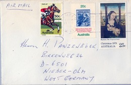 1978 , AUSTRALIA ,  CORREO AÉREO , CAMDEN - NAVIDAD , CABALLOS , AVES , HÍPICA - 1966-79 Elizabeth II