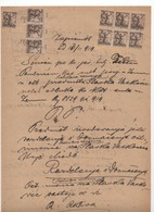 14.11.1919 KINGDOM OF SHS, CHAINBRAKERS,ZEMUN,10 POSTAL STAMPS USED AS REVENUE, 3 WITH TABS WITH NUMBERS,COURT MINUTES - 1919-1929 Kingdom Of Serbs, Croats And Slovenes