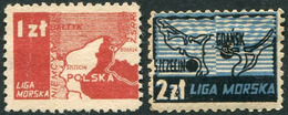 Poland 1946 LIGA MORSKA Maritime League Charity Donation Revenue Sea MAP Gdansk Szczecin Landkarte Fiscal Polen Pologne - Revenue Stamps