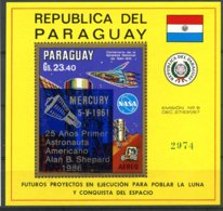 Paraguay, 1986, Space, Mercury, MNH Overprint, Michel Block 433 - Paraguay