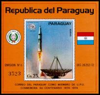 Paraguay, 1974, UPU Centenary, Space, Rocket, United Nations, MNH, Michel Block 220 - Paraguay