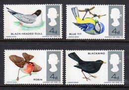 GREAT BRITAIN - 1966 BRITISH BIRDS SET (4V) 3 PHOSPHOR BANDS FINE MNH ** SG 696p-699p - 1952-.... (Elizabeth II)