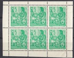 DDR - 1957 - Minifoglio Con 6 Valori Yvert314A Nuovi Senza Gomma. - Neufs