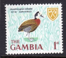 GAMBIA 1966 1d WHITE-FACED WHISTLING DUCK BIRD STAMP FINE MNH ** SG 234 - Gambia (1965-...)
