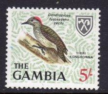 GAMBIA 1966 5/- CARDINAL WOODPECKER BIRD STAMP FINE MNH ** SG 243 - Gambia (1965-...)
