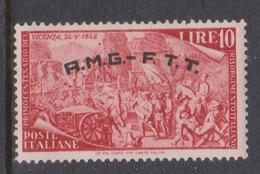 Trieste Allied Military Government S 23 1948 Revolution Centenary 10 Lire Red ,mint - 7. Trieste