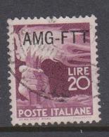 Trieste Allied Military Government S 64 1949 Democratica 20 Lire Lilac Used - 7. Trieste