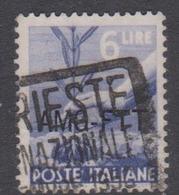 Trieste Allied Military Government S 60 1949 Democratica 6 Lire Blue Used - 7. Trieste