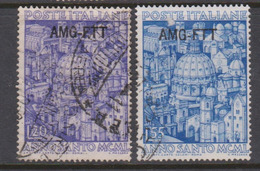Trieste Allied Military Government S 73-74 1950 Holy Year Used - 7. Trieste