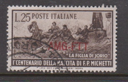 Trieste Allied Military Government 129 1951 Birth Centenary Paolo Michetti,used - 7. Trieste
