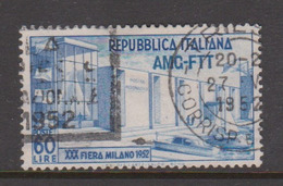 Trieste Allied Military Government S 143 1952 30th Milan Fair,used, - 7. Trieste