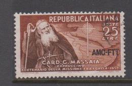 Trieste Allied Military Government S160  1952 Cardinal Massaia,used - 7. Trieste