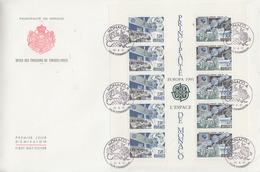 Enveloppe  FDC  Grand  Format  1er  Jour   MONACO   Bloc   Feuillet   EUROPA   1991 - 1991