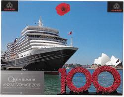 2015 Queen Elizabeth Ship ANZAC Voyage Opera House Gallipoli Postcard - Sydney