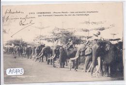 CAMBODGE- PNOM-PENH- LES SOIXANTE ELEPHANTS QUI FORMENT L ESCORTE DU ROI DU CAMBODGE - Cambodge