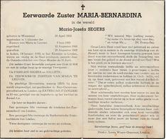 Zuster, Soeur, Maria Segers, Wezemaal, Leuven, Linden, 1953 - Religion & Esotérisme