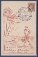= Exposition Philatélique Arcachon (Gironde) 15-18 Août 1946 Timbre 681, Carte Postale - Cachets Commémoratifs