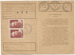 GANDON 50FR PAIRE CARTE ABONNEMENT PTT NIORT 5.10.1946 AU TARIF - 1945-54 Marianne Of Gandon
