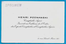 Carte De Visite HENRI POZNANSKI Comptable Agréé à L'Ordre Des Experts Comptables 75002 Paris (specimen) - Cartoncini Da Visita
