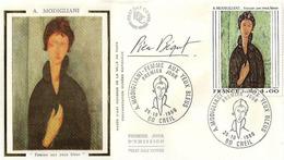 """FDC 1er Jour : Modigliani """" Femme Au Yeux Bleus """" 25/10/1980  N° 2109 Signé Pierre BEQUET - FDC"""