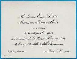 Faire-Part Première Communion Famille PORTE Bd St-Germain 75006 Paris ° Stern Graveur - Communion