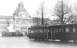 Tournai - Carte Photo Messiaen - Gare Avec Tram à Vapeur - Tournai