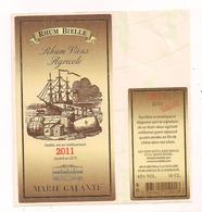 Etiquette Rhum Vieux  Agricole - Bielle - 2011 - Marie Galante - GUADELOUPE ( - Rhum