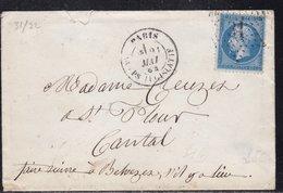 France, Paris - Yvert N° 22 Oblitéré étoile 31 Corps Législatif Sur Enveloppe De 1864 - Indice 14 - Marcophilie (Lettres)