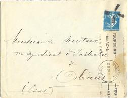 SEMEUSE 30 C Bleu YT 192 ANNULÉE Par CACHET SPÉCIAL ORLEANS LOIRET - AYANT ÉCHAPPÉ OMec KRAG TOURCOING NORD Du 19 III 26 - Postmark Collection (Covers)