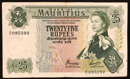 25 RUPEES 1967 MAURICE  MAURITIUS  Pick#32 Vf Bb Lotto.2369 - Mauritius