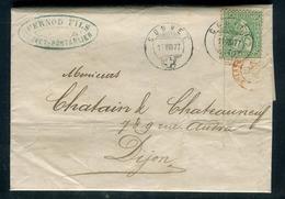 Suisse - Lettre Commerciale De Couvet - Pontarlier Avec Texte ( Pernod ) Pour La France En 1877 - Réf S47 - Switzerland