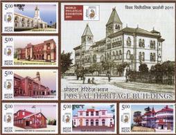 5X INDIA 2010 Postal Heritage Buildings; Miniature Sheet, MINT - Unused Stamps
