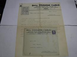 MONZA  ---   DITTA OGGIONI CARLO  -- ARTICOLI IN PELLE  -DERMOIDE E TELA + BUSTA - Italy