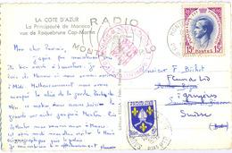 CP MONACO  7-8-1957 => SAUVETERRE DE BEARN  Réexpédié Vers GRUYERES SUISSE Ré-affranchi BLASON SAINTONGE 5f YT 1005 - Monaco