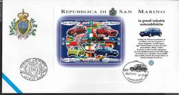 SAN MARINO - INDUSTRIE AUTOMOBILISTICHE - VOLKSWAGEN - FOGLIETTO (SS 47) SU BUSTA F.D.C. UFFICIALE 14.11.1997 - Automobili