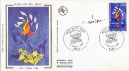 FDC 1er Jour :Rafle Du Vel-d'hiv.  09/07/1995 N° 2695 Signé Robert ABRAMI Trés Rare - FDC