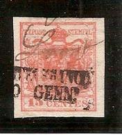 (Fb).A.Stati.Lombardo-Veneto.1850.-15c Rosso Vermiglio II Tipo,usato,fresco Con Ampi Margini (380-15) - Lombardo-Veneto