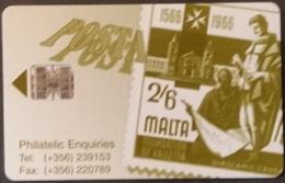 Telefonkarte Malta - Werbung - Briefmarke - Malta