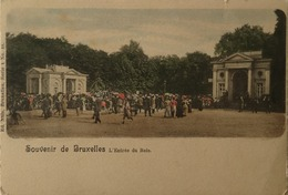 Bruxelles // Souvenir De // A Entree Du Bois (Handcollored) Ca 1899 - Bossen, Parken, Tuinen