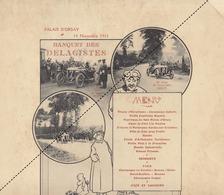 Rare Menu Illustré Auto Automobile Delage Banquet En 1911 Au Palais D'orsay Guyot Bablot - Menus