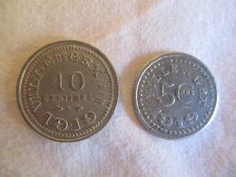 France: Gex  2 Jetons 5 & 10 Centimes 1919 - Monétaires / De Nécessité